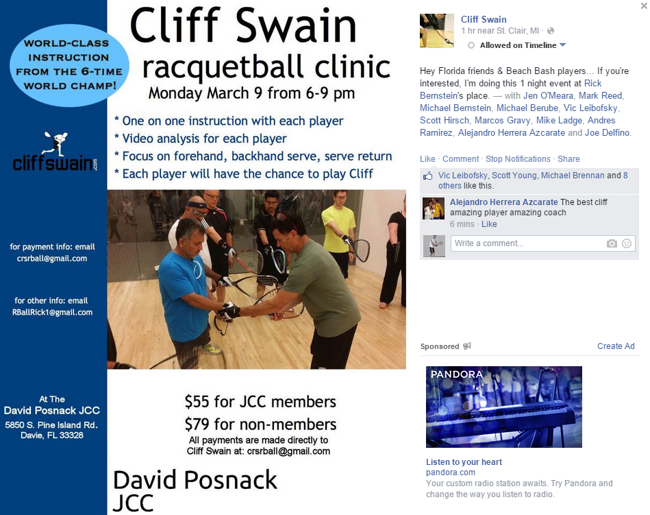 Cliff Swain Racquetball Clinic in Florida