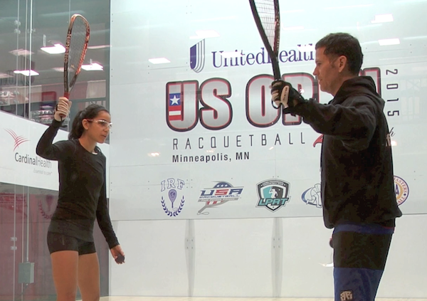 Cliff Swain coaches LPRT pro Ceci Orozco at the 2015 US Open