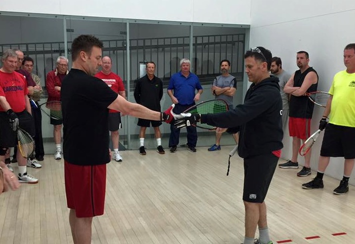Cliff Swain conducts a racquetball clinic