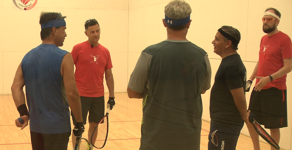 Cliff Swain teaching a racquetball clinic, July 2016