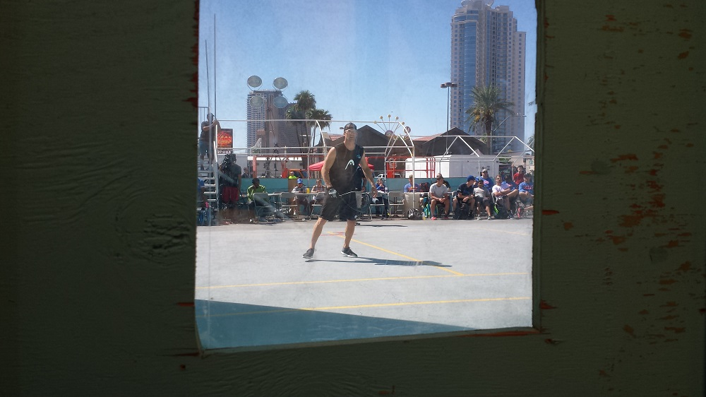 View from the camera porthole of the ESPN court