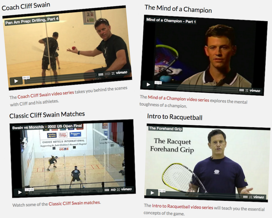 Racquetball Video Archive at CliffSwain.com